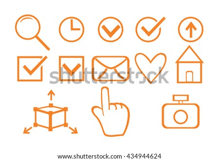 Set of business icons for design. Vector illustration of isolated objects.