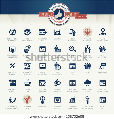 Set of business icons for internet marketing and services - stock vector