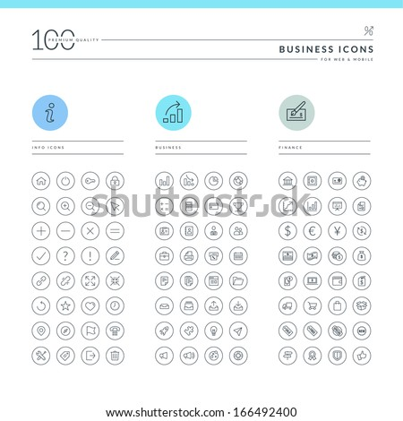 Set of business icons for web and mobile. Info, business and finance icons.  - stock vector