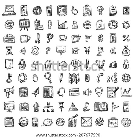 Set of business icons, Hand drawn vector illustration - stock vector
