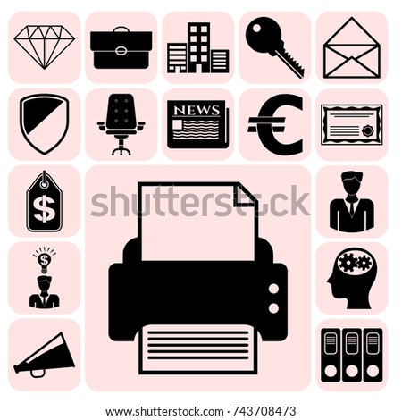 Set of 17 business icons, high quality. Collection. Flat design. Vector Illustration.