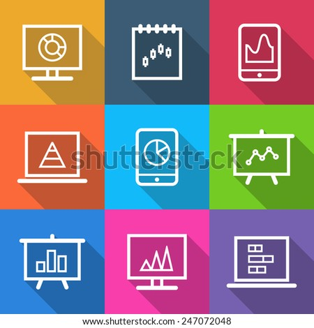 Set of business icons infographic isolated in colorful squares. Vector illustration - stock vector