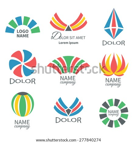 Set of business icons isolated on white.Labels, badges and  design elements.Business Logo Flat Collection - stock vector