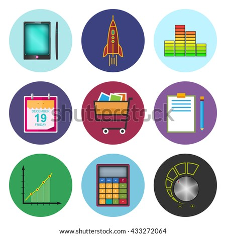 Set of Business Icons,Phone and Office Items,  Icon of Business Success, Graph Growth, Shopping Basket, Vector Illustration - stock vector