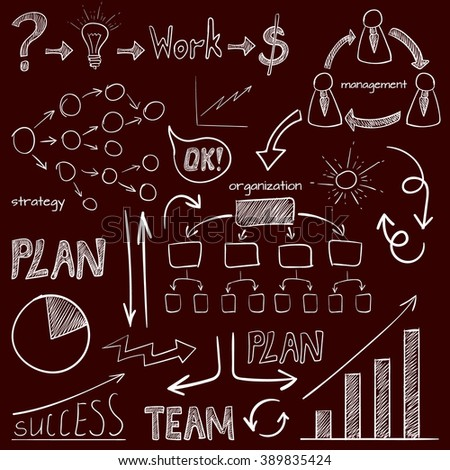Set of business icons. Plan, team work, graph, light bulb, money sign, hand drawn arrows, organization scheme, management system. VECTOR doodle icons. White on dark red  - stock vector