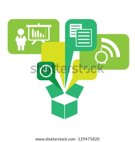 Set of Business icons pop up from the box , Vector illustration - stock vector