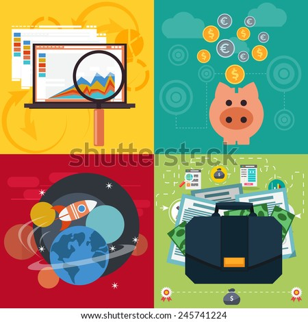 Set of business icons seo analysis piggy bank space with rocket case with dollars and documents flat design style - stock vector