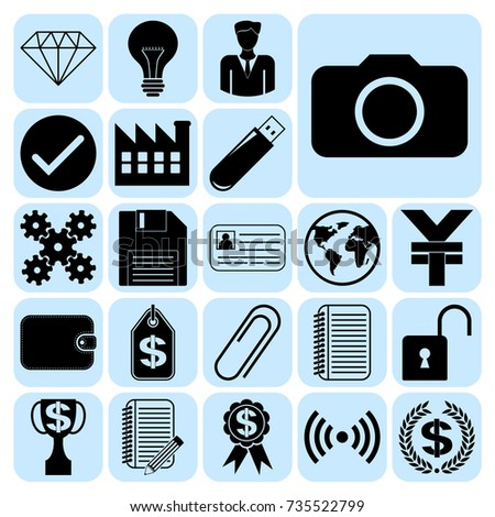 Set 22 Business Icons Symbols Pictograms Stock Vector 735522799