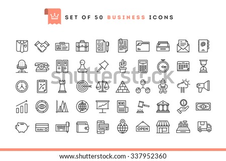 Set of 50 business icons, thin line style, vector illustration  - stock vector
