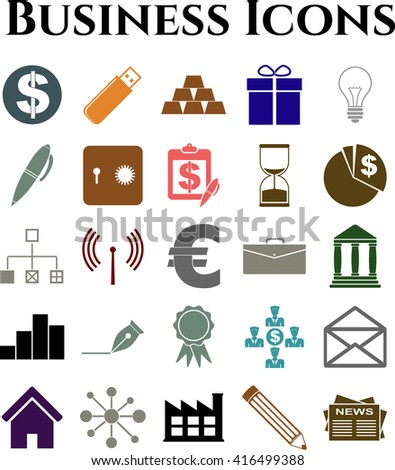 Set of 25 business icons. Universal and Standard Icons.