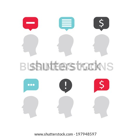 Set of business icons with businessman head profile and speech bubble. Vector illustration