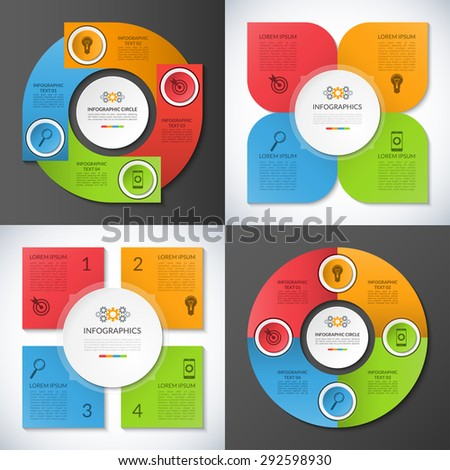 Set of business infographic circles, banners, templates, design elements. Can be used for presentation, workflow layout, brochure, chart, number and step up options, web design. Vector illustration - stock vector