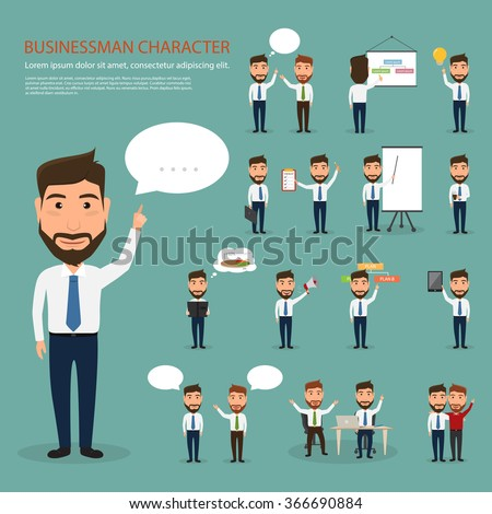 set of business man character at office work. people character. - stock vector