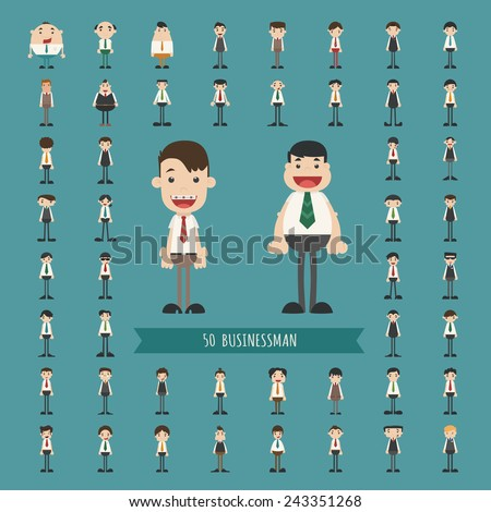 Set of business man characters , eps10 vector format - stock vector