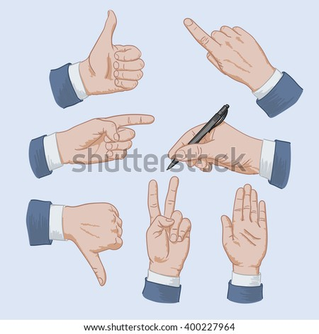 Set of business man hands showing different signs, pointing finger, pointing hand, like, dislike, signature, up hand, V hand - stock vector