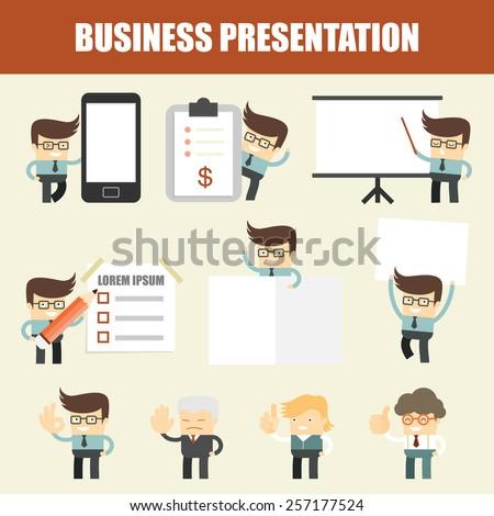 set of business man presentation - stock vector