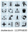 Set of 16 business, management and human resources icons - stock vector