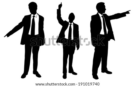 set of business men pointing - stock vector
