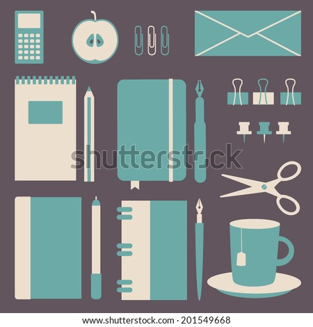 Set Of Business Office Icons. Office Supplies. School Objects. Vector  Illustration.
