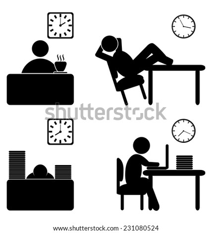 Set of business office work process flat icons isolated on white  - stock vector
