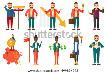 Set of business people. Business leadership, business success, business idea, business investment, career, corruption concept. Vector flat design illustration in the circle isolated on background.