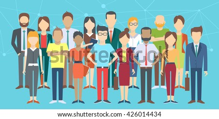 Set of business people, collection of diverse characters in flat cartoon style, vector illustration - stock vector