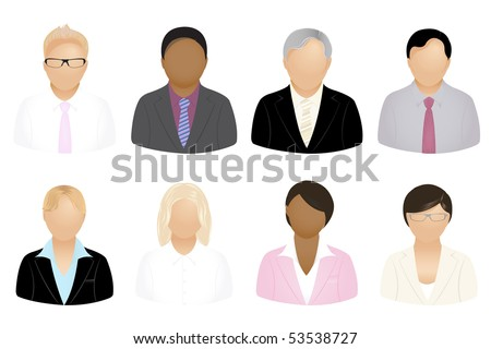 Set Of Business People Icons, Isolated On White - stock vector