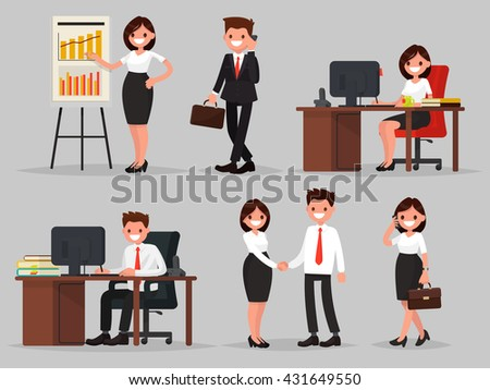 Set of business people in different situations - stock vector
