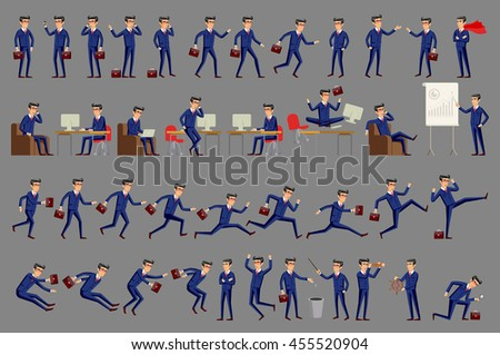 Set of business people. Large vector set of businessman character poses, gestures and actions. Office worker professional standing, walking, talking on phone, working, running, jumping,  - stock vector