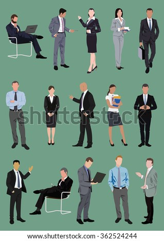 Set of business people, managers, office characters in various poses - stock vector