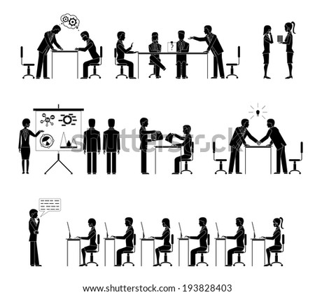 Set of business people silhouettes in meetings with a row of people seated at desks listening to a lecture  handshake  negotiations  conference  brainstorming  and discussions  vector illustration