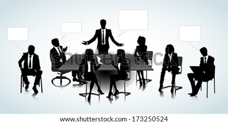 Set of business people silhouettes on the office background - stock vector