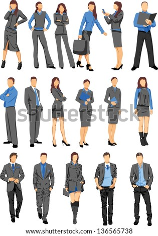 Set of business people - vector - stock vector