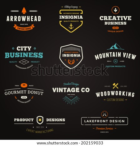 Set of business sign graphics and text logo designs