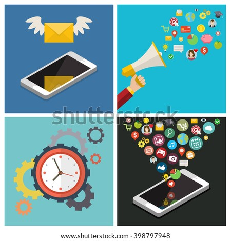 Set of business social media concepts. Flat design, vector illustration.