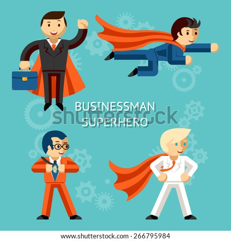 Set of business superheroes characters. Super businessman, person cartoon. Vector illustration - stock vector