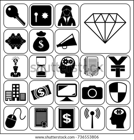 Set 22 Business Symbols Icons Collection Stock Vector 736553806