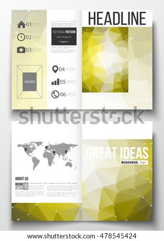 Set of business templates for brochure, magazine, flyer, booklet. Molecular construction with connected lines and dots, scientific pattern, yellow polygonal background, modern triangle vector texture