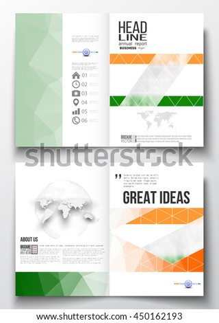 Set of business templates for brochure, magazine, flyer, booklet or annual report. Background for Indian Independence Day celebration with Ashoka wheel and national flag colors, vector illustration.