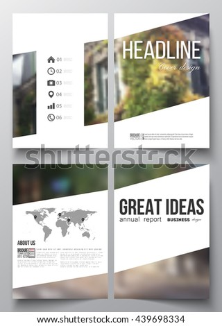 Set of business templates for brochure, magazine, flyer, booklet or annual report. Blurred image, urban landscape, street in Montmartre, Paris cityscape. - stock vector