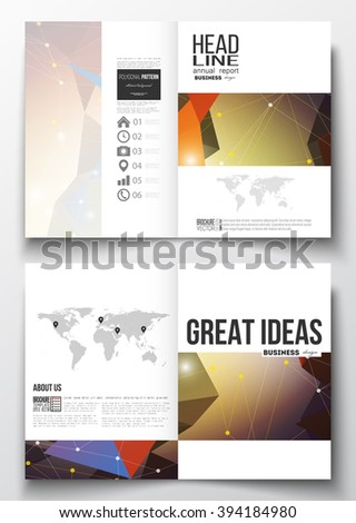 Set of business templates for brochure, magazine, flyer, booklet or annual report. Molecular construction with connected lines and dots, scientific pattern on abstract colorful polygonal background