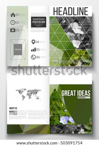 Set of business templates for brochure, magazine, flyer, booklet or annual report. Polygonal floral background, blurred image, blue flowers in green grass closeup, modern triangular texture