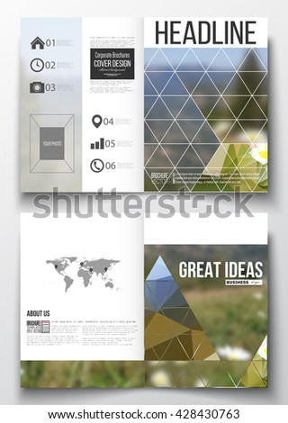 Set of business templates for brochure, magazine, flyer, booklet or annual report. Summer landscape. Colorful polygonal backdrop, blurred background, modern stylish triangle vector texture.