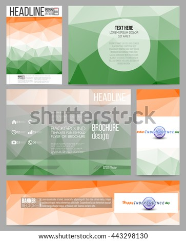 Set of business templates for presentation, brochure, flyer or booklet. Background for Happy Indian Independence Day celebration with Ashoka wheel and national flag colors, vector illustration.