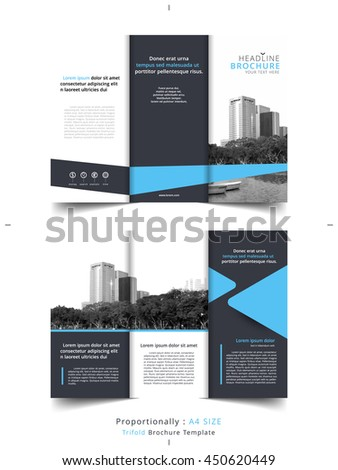Set Business Tri Fold Brochure Template Stock Vector - Tri fold brochures templates