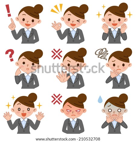 Set of business woman - stock vector