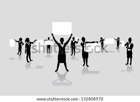 set of business woman boards - stock vector