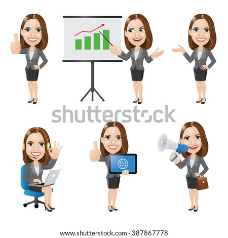 Set of Business Woman Character in 6 Different Poses - stock vector