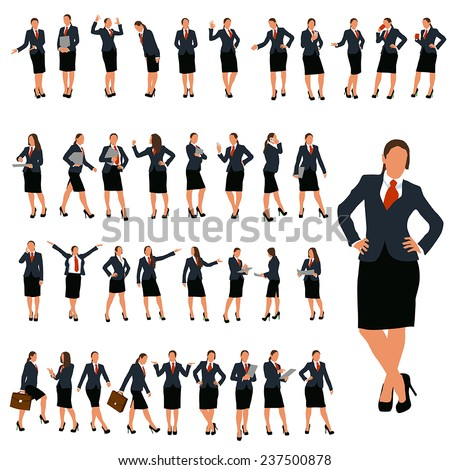 set of business woman in different poses in color - stock vector