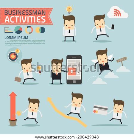 set of businessman activities vector - stock vector